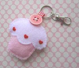 Cupcake Keyring Charm - Strawberry