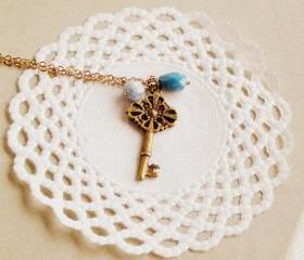 Old Secret necklace - 'Treasures' collection, Key necklace vintage style jewelry, in powder blue