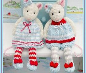 MJT Little Gems 1 'Tearoom Mice' Pdf/ Email Toy Knitting Pattern