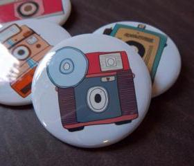 Retro Camera 4 Pack - 2 1/4 Inch Buttons