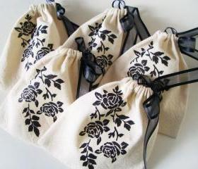 5 Black Cascading Rose Gift / Presentation Cotton Pouches - 4 x 4.5
