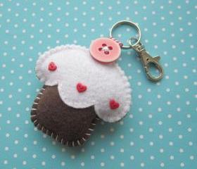 Cupcake Keyring Charm - Chocolate