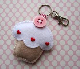 Cupcake Keyring Charm - Vanilla