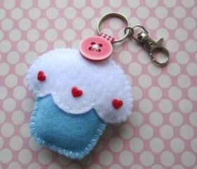 Cupcake Keyring Charm - Blueberry