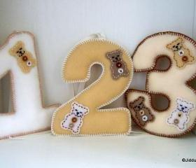 Teddy Bear Felt Number Decorations