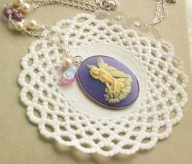  'Fairy Anya' cameo necklace - 'Treasures collection' - lilac, victorian jewelry, vintage style