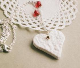 'Loveliness' Heart necklace - Valentine's day, white heart, red beads