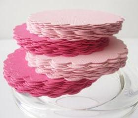 32 Scalloped Circles (2.5 Inches) in Hot Pink and Pink paper Textured Cardstock A98