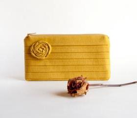 Mustard Bridal Pouch or Bridesmaids Clutch, Purse - Romantic Rose pleats by Lolos