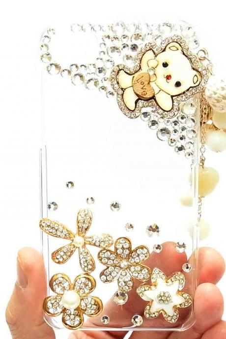 Bling Crystal Lovely Bear Charm blackberry Z10 Case, Clear Blackberry Z10 Case Cover,Blackberry Z10 Case,Crystal Pearl Blackberry z10 Case B