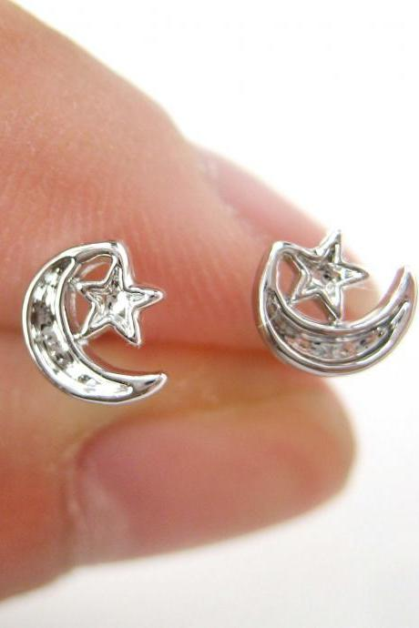 Small Moon and Stars Shaped Stud Earrings Non Allergenic Plastic Post