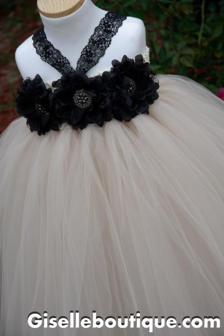 Nude and with Black Flowers Tutu Dress