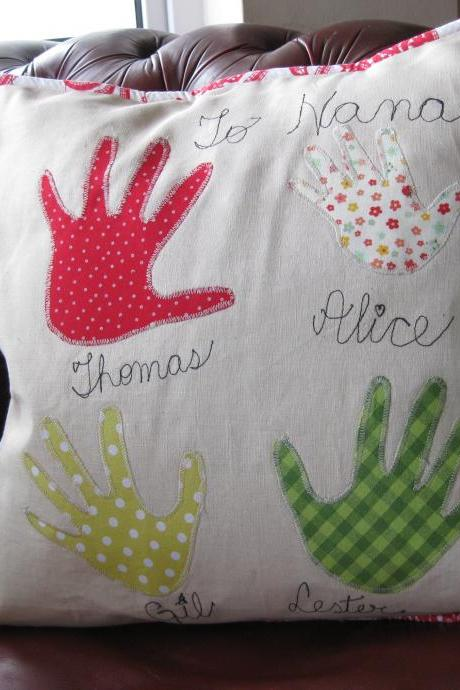 Personalised handprint cushion - family cushion - heirloom /keepsake cushion