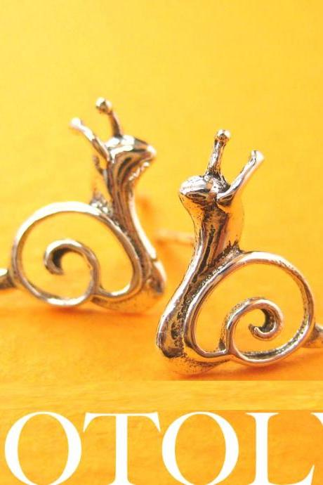 Small Snail Shaped Animal Stud Earrings in Sterling Silver