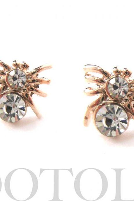 Small Spider Tarantula Insect Bug Animal Stud Earrings with Rhinestone