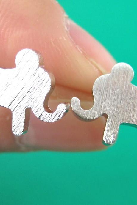 Simple Elephant Animal Silhouette Stud Earrings in Sterling Silver