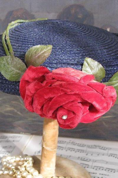 Sweet Vintage Navy Blue Straw Hat with Red Velvet Rose 1940s