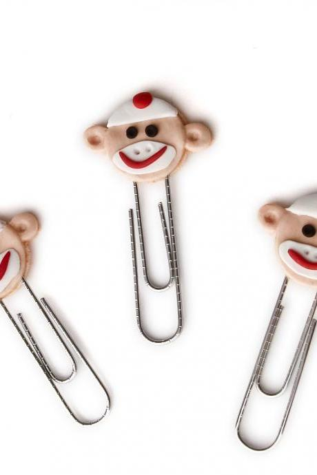 Orange Sock Monkey Face PaperClip Bookmarks Set of 3 Handmade in Polymer Clay