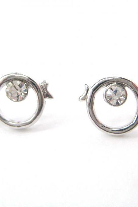 Small Round Fish Sea Animal Stud Earrings with Rhinestones in Silver