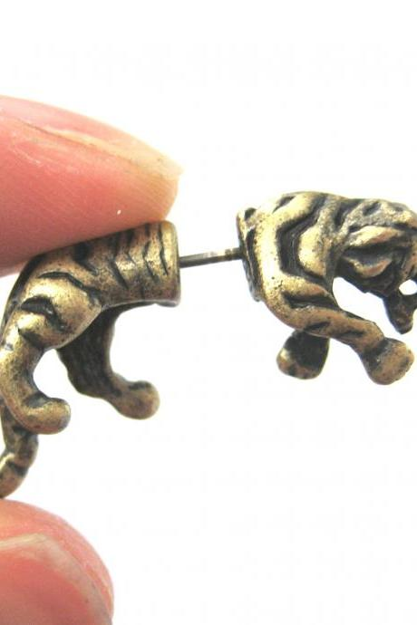 Fake Gauge Realistic Tiger Cat Animal 3D Plug Stud Earrings in Bronze