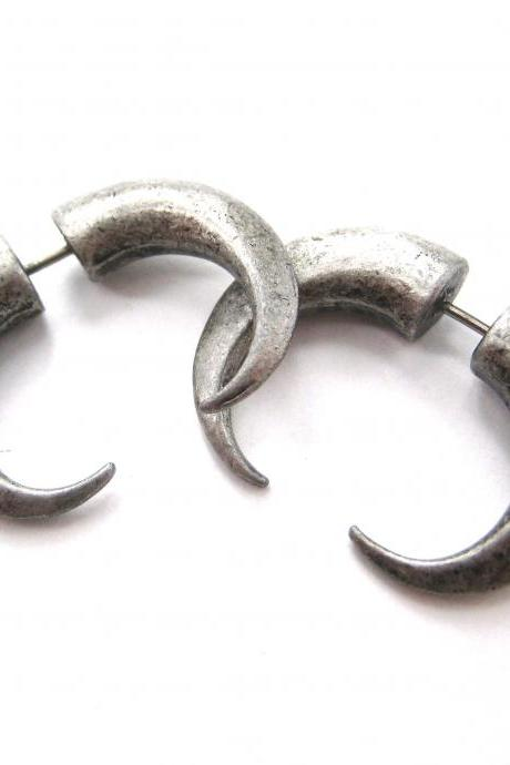 Rocker Chic Spike Fake Gauge 3D Plug Hook Stud Earrings in Silver