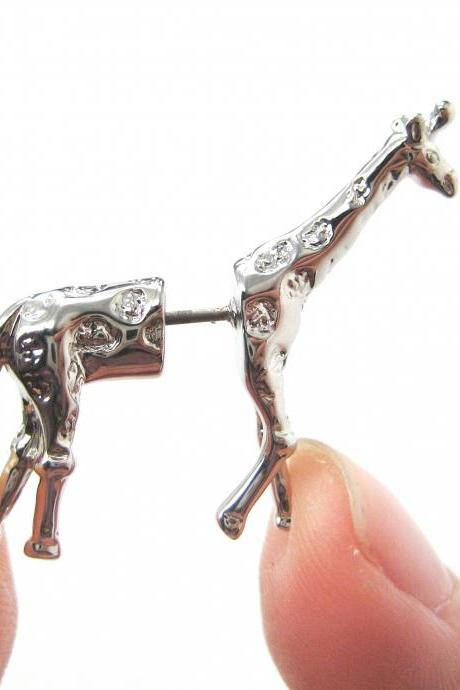 Fake Gauge Realistic Giraffe Animal 3D Plug Stud Earrings in SHINY Silver