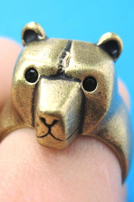 3D Adjustable Polar Bear Teddy Animal Wrap Around Hug Ring In Brass