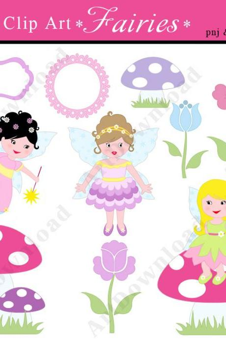 Fairies - Fairy Digital Clip Art , For Commercial use, Fairy Girls, Printed Cards, Party