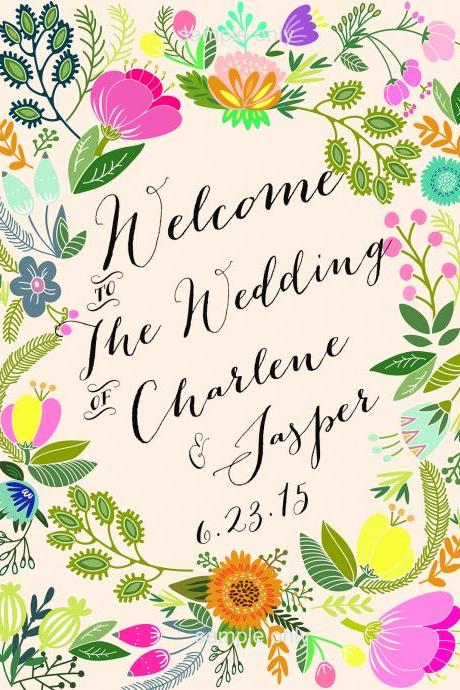 Wedding Welcome Sign Blossom - printable welcome sign CUSTOMIZED