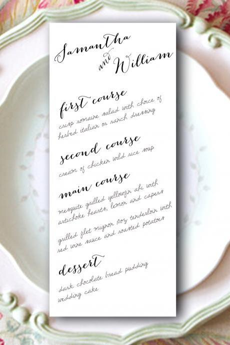 Wedding Menu Printable Samantha - table menu card CUSTOMIZED