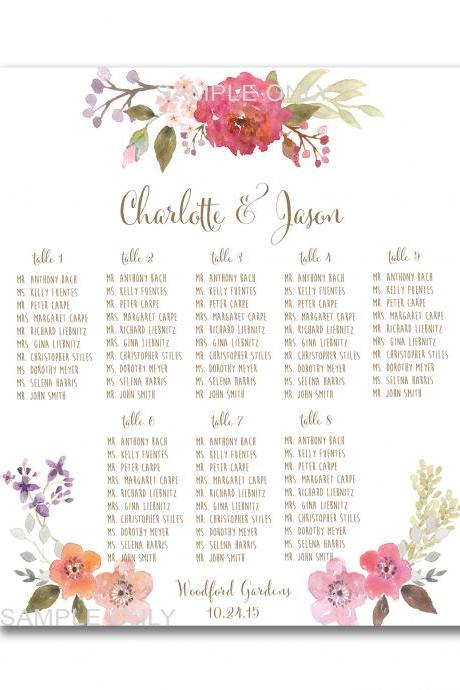 Wedding Table Seating Chart PRINTABLE - 50 - 130 guests, customized table seating plan wedding pritnable