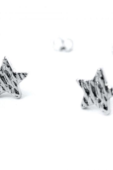 Small Textured Star Shaped Night Sky Hammered Stud Earrings in Silver