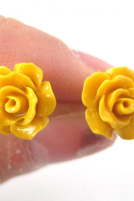 Small Floral Rose Resin Stud Earrings in Yellow