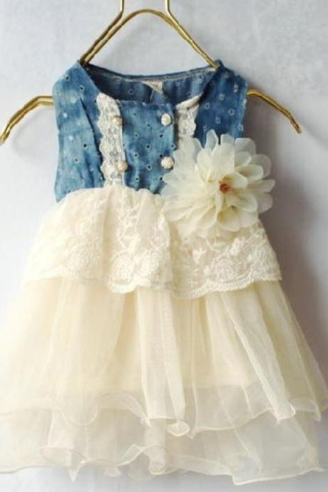 Infant Ivory Tutu Dress Denim Lace Waist Flower Corsage Denim Ivory Girls Dress 6-9 months,9-12 months,12 months,24 months,2T,3T