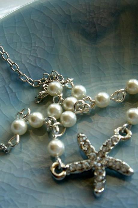 Oceane Nautical Ocean Theme Wedding Starfish and Pearl Necklace