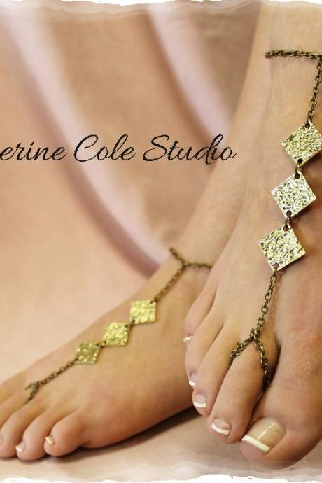 Hammered Bronze diamond Barefoot sandals great for summer 1 pr. slave sandals beach wear foot jewelry Catherine Cole Studio BF12