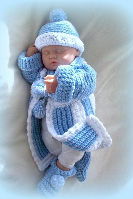 Baby Boy 0 to 6 months Sweater Coat and Hat and Booties