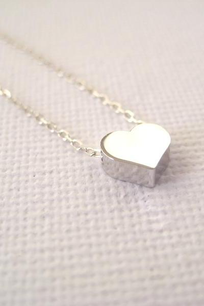 Sterling silver necklace with tiny heart bead - With a little heart