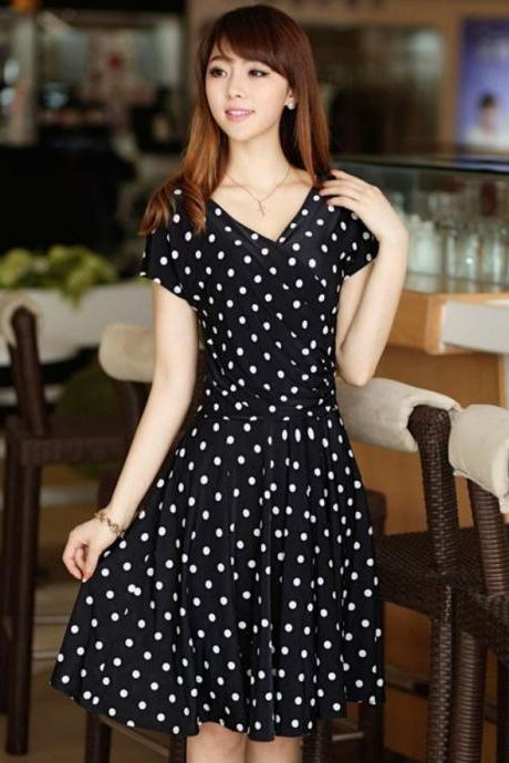 Polka Dots Maxi Dress Women Black Dress Bohemian Maxi dresses