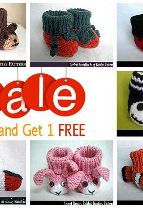 Buy Any 3 Baby Booties Patterns and GET ONE FREE!