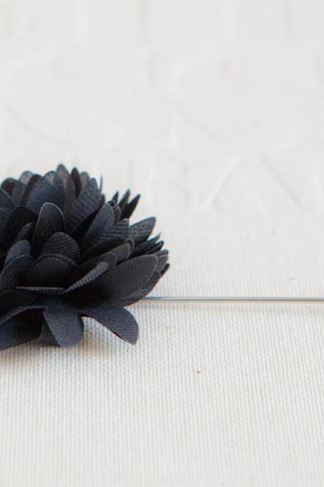 KAYLA-Black Men's flower Boutonniere / Buttonhole for wedding,Lapel pin,tie pin