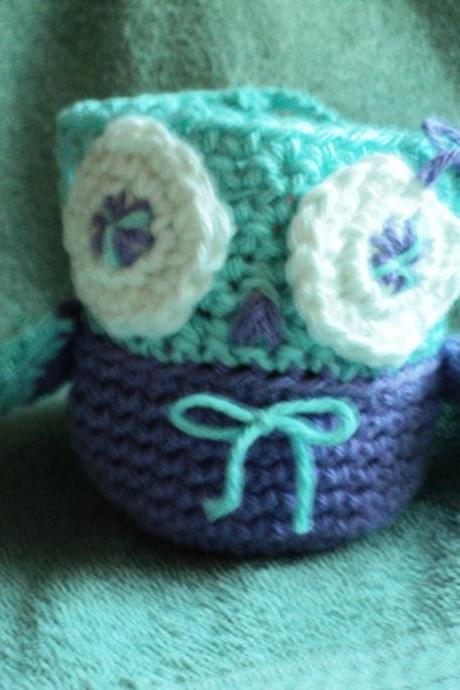 Apple Cozy - Owl Shaped - Purple and Blue- Crocheted