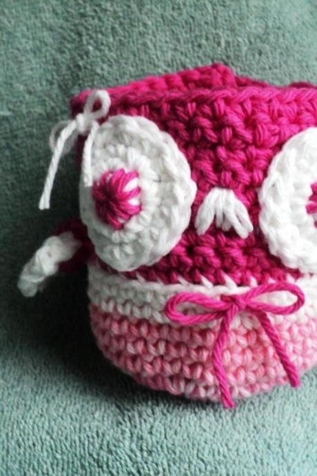 Apple Cozy - Owl Shaped - Pink and White- Crocheted