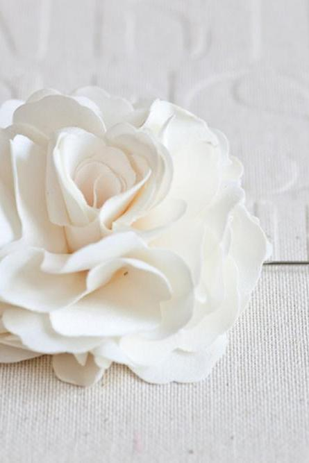 70mm Ivory Satin Men's Flower Boutonniere / Buttonhole For Wedding,Lapel Pin,Tie Pin