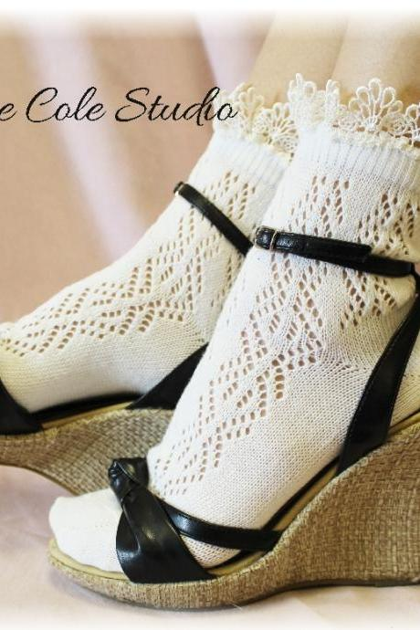 Lace socks for heels Baby doll, 80's inspired pointelle crochet lace socks , pretty for summer flats or heels catherine cole studio CS10