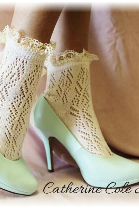 Pointelle Paris Peek a Bow Lace socks for heels CREAM Baby doll, 80's inspired crochet lace socks flats or heels Catherine Cole Studio CS5