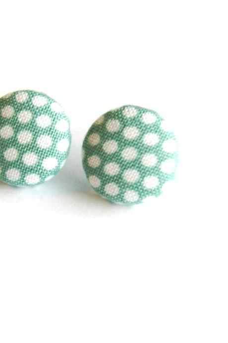 Blue and White Polka Dot Earrings