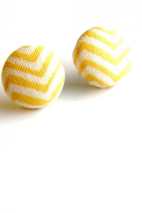 Yellow and White ZigZag Chevron Earrings