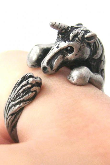 3D Unicorn Horse Animal Hug Wrap Ring in Silver - Sizes 5 to 9 Available