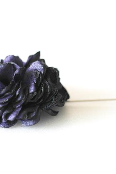 ESTHER-Deep Purple Men's flower Boutonniere/Buttonhole for wedding,Lapel pin,hat pin,tie pin
